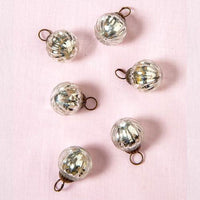 "6 Pack | 1.5"" Silver Mona Mercury Glass Lined Ball Ornaments Christmas Tree Decoration"