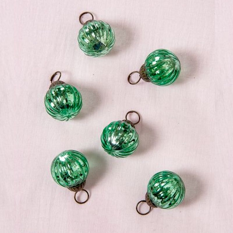 "6 Pack | 1.5"" Vintage Green Mona Mercury Glass Lined Ball Ornaments Christmas Tree Decoration"