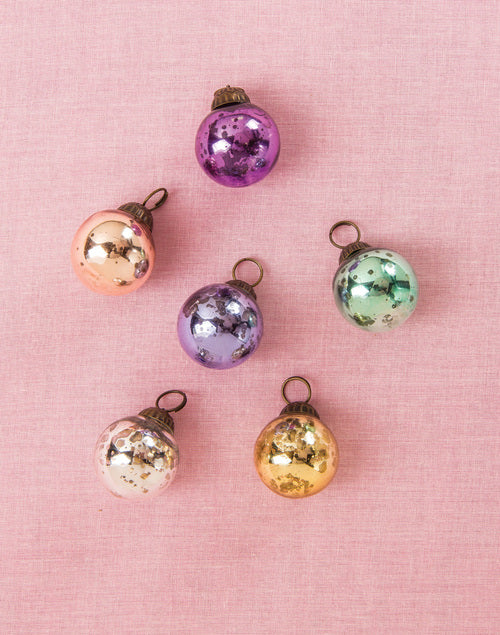 "6 Pack | 1.5"" Pastel Color Mercury Glass Ball Ornaments Christmas Tree Decoration"