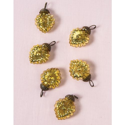 "6 Pack | 1.5"" Gold Viola Mercury Glass Heart Ornaments Christmas Tree Decoration"