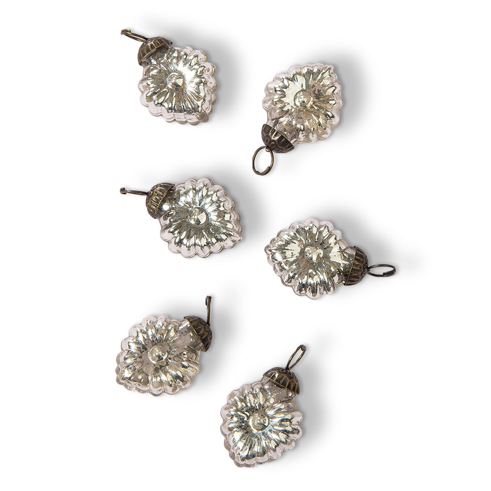 "6 Pack | 1.5"" Silver Viola Mercury Glass Heart Ornaments Christmas Tree Decoration - PaperLanternStore.com - Paper Lanterns, Decor, Party Lights & More"