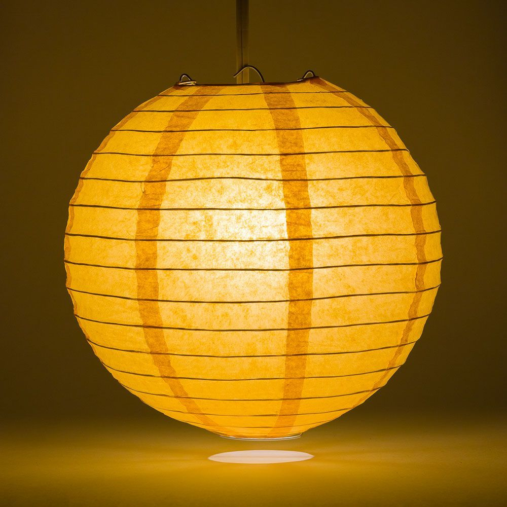 "6"" Papaya Round Paper Lantern, Even Ribbing, Hanging Decoration"