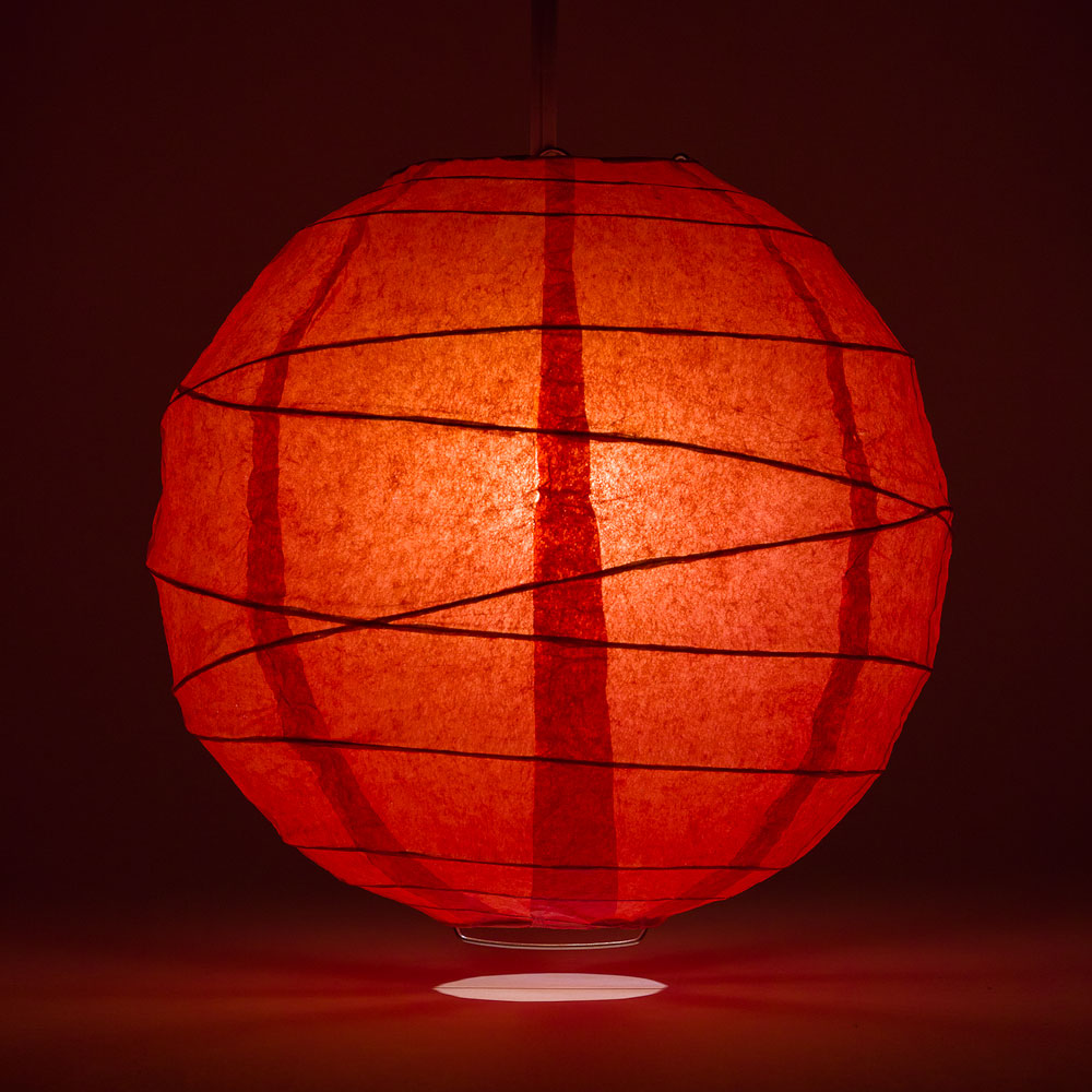 "6"" Red Round Paper Lantern, Crisscross Ribbing, Chinese Hanging Wedding & Party Decoration - PaperLanternStore.com - Paper Lanterns, Decor, Party Lights & More"