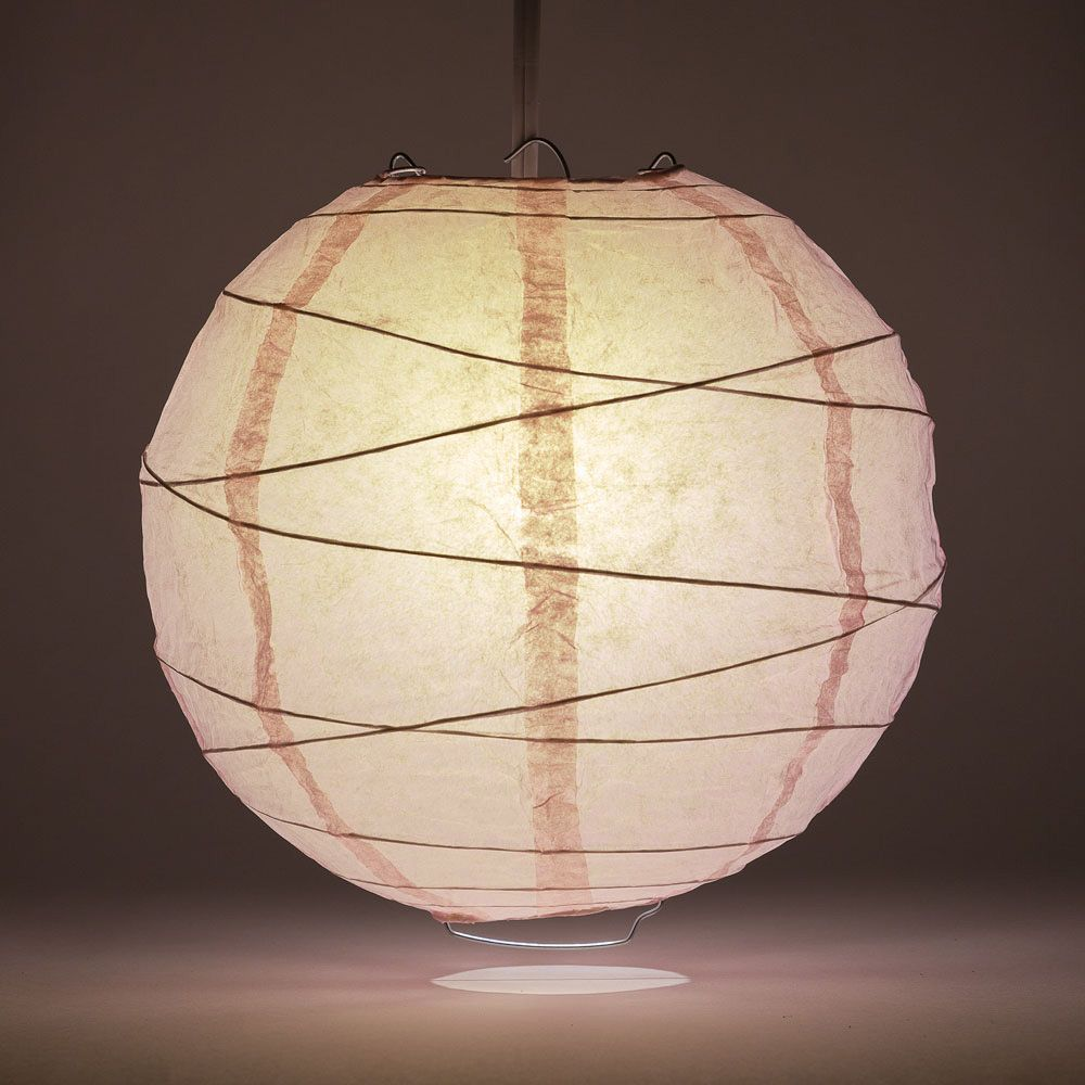 "8"" Rose Quartz Pink Round Paper Lantern, Crisscross Ribbing, Chinese Hanging Wedding & Party Decoration"