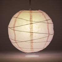 "20"" Rose Quartz Pink Round Paper Lantern, Crisscross Ribbing, Chinese Hanging Wedding & Party Decoration"