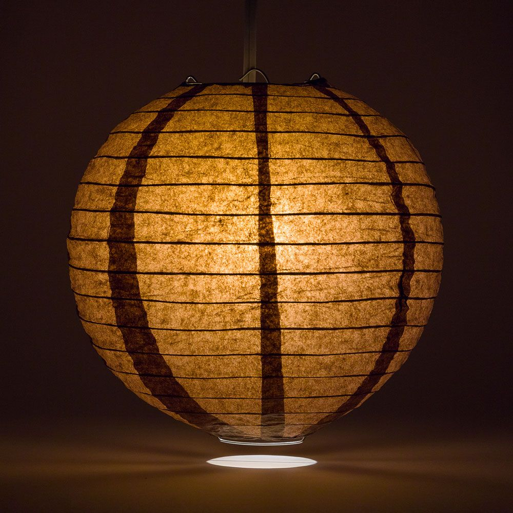 "6"" Brown Round Paper Lantern, Even Ribbing, Chinese Hanging Wedding & Party Decoration - PaperLanternStore.com - Paper Lanterns, Decor, Party Lights & More"