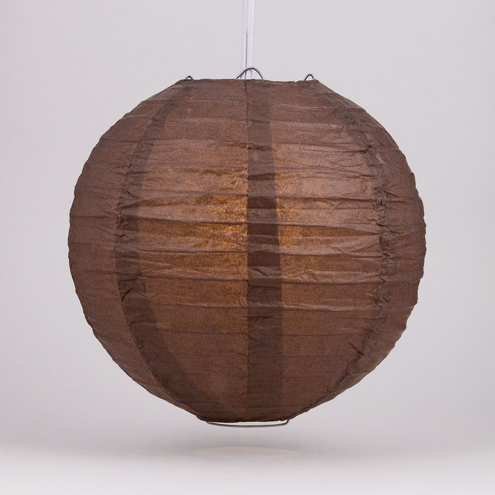 "6"" Brown Round Paper Lantern, Even Ribbing, Chinese Hanging Wedding & Party Decoration"