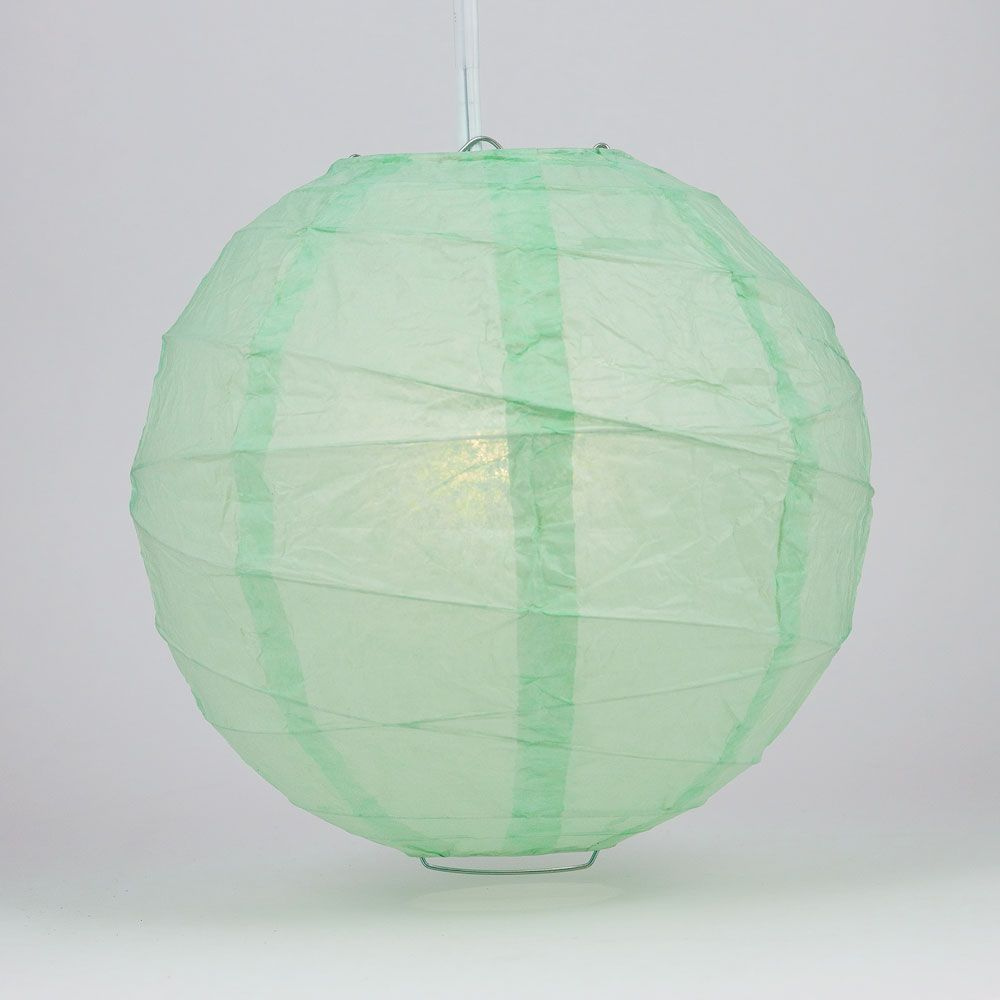 "6"" Cool Mint Green Round Paper Lantern, Crisscross Ribbing, Chinese Hanging Wedding & Party Decoration - PaperLanternStore.com - Paper Lanterns, Decor, Party Lights & More"