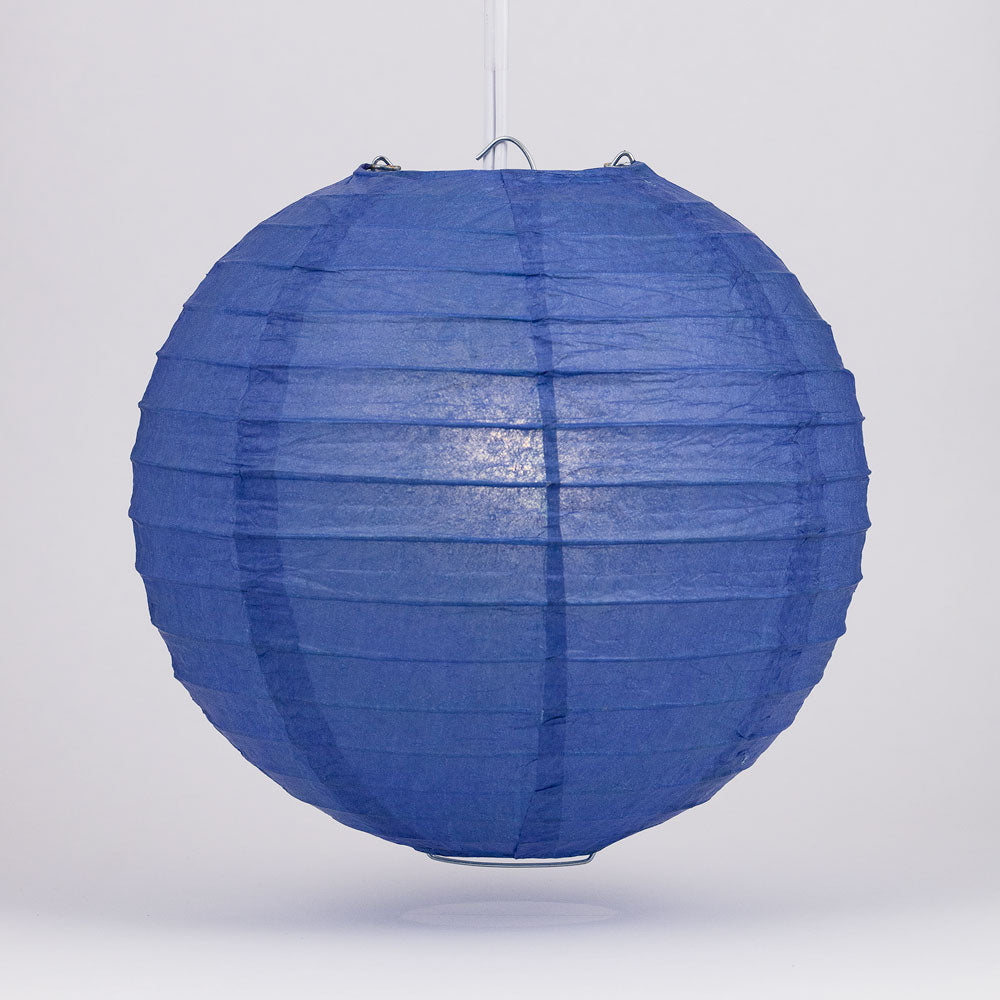"6"" Dark Blue Round Paper Lantern, Even Ribbing, Chinese Hanging Wedding & Party Decoration"