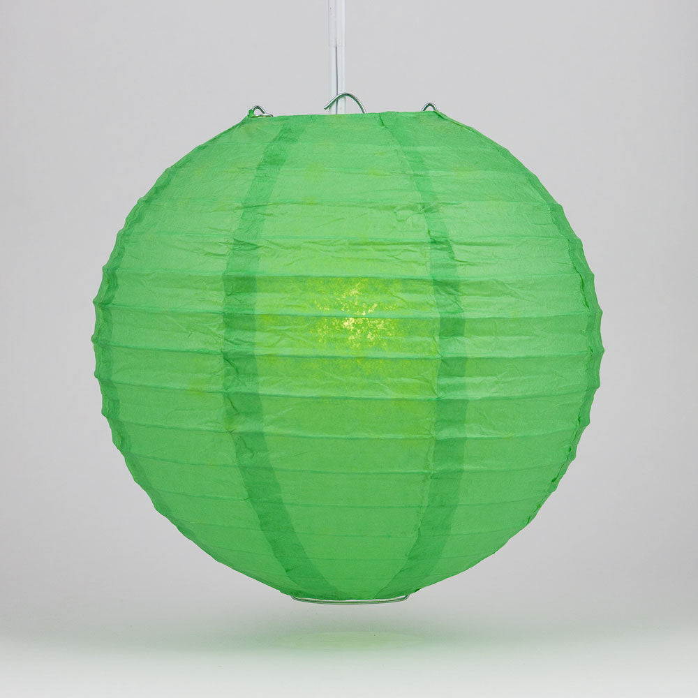 "6"" Emerald Green Round Paper Lantern, Even Ribbing, Chinese Hanging Wedding & Party Decoration - PaperLanternStore.com - Paper Lanterns, Decor, Party Lights & More"