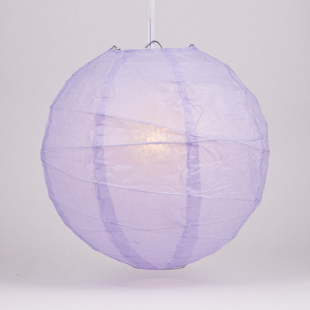 "6"" Lavender Round Paper Lantern, Crisscross Ribbing, Chinese Hanging Wedding & Party Decoration"
