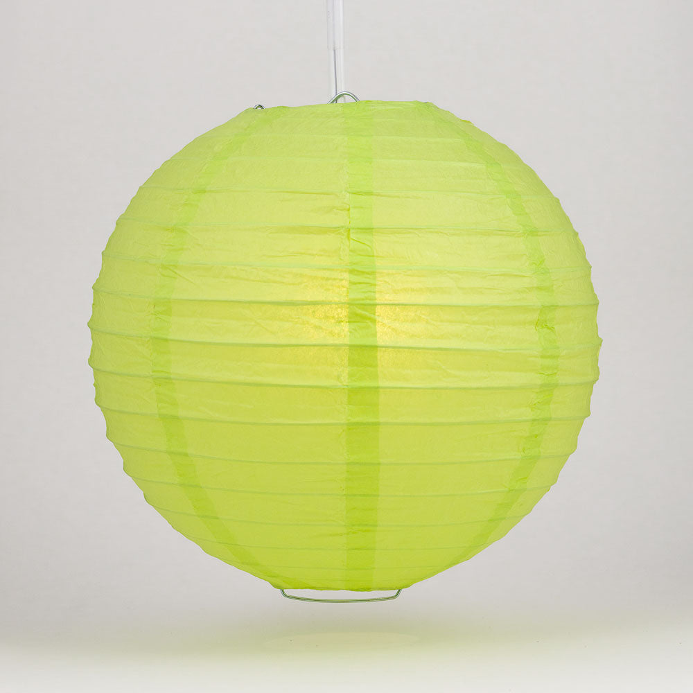 "6"" Light Lime Green Round Paper Lantern, Even Ribbing, Chinese Hanging Wedding & Party Decoration"