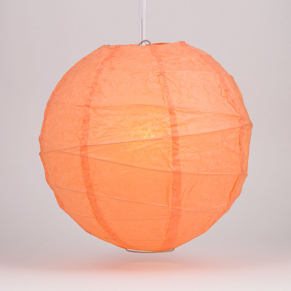 "6"" Peach / Orange Coral Round Paper Lantern, Crisscross Ribbing, Chinese Hanging Wedding & Party Decoration - PaperLanternStore.com - Paper Lanterns, Decor, Party Lights & More"