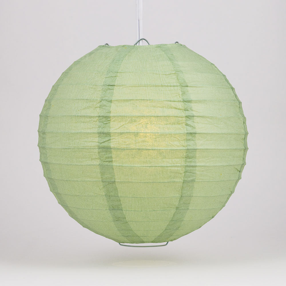 "6"" Sea Green Round Paper Lantern, Even Ribbing, Chinese Hanging Wedding & Party Decoration"