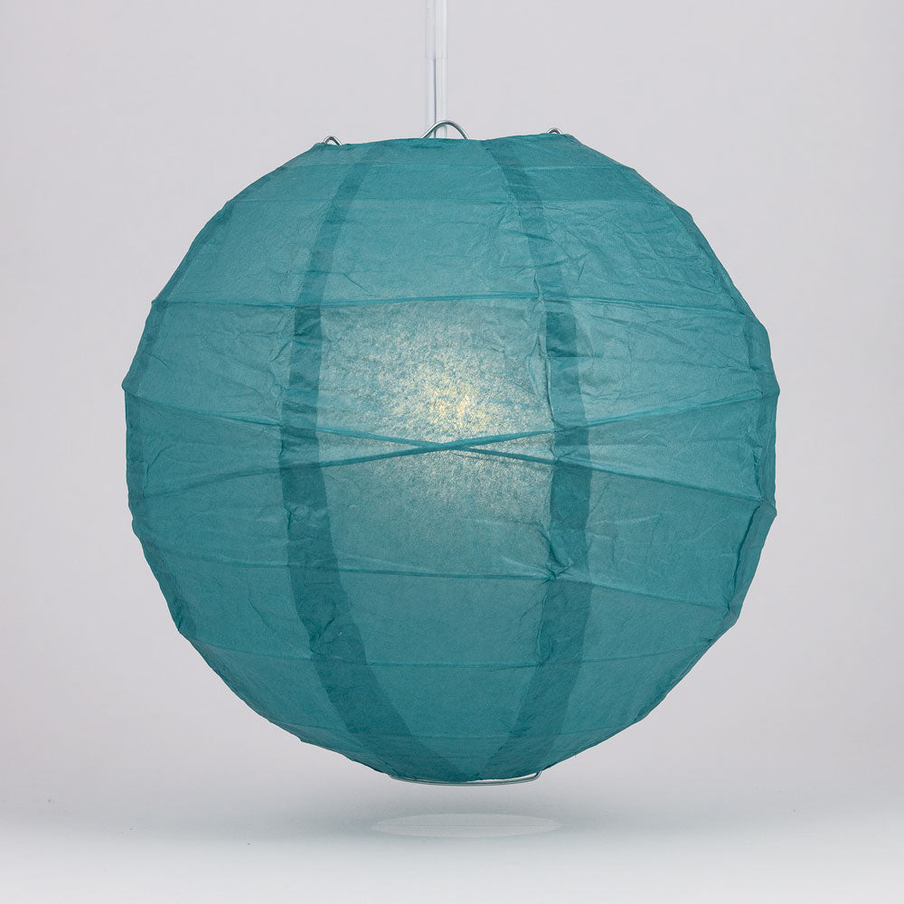 "6"" Tahiti Teal Round Paper Lantern, Crisscross Ribbing, Chinese Hanging Wedding & Party Decoration"