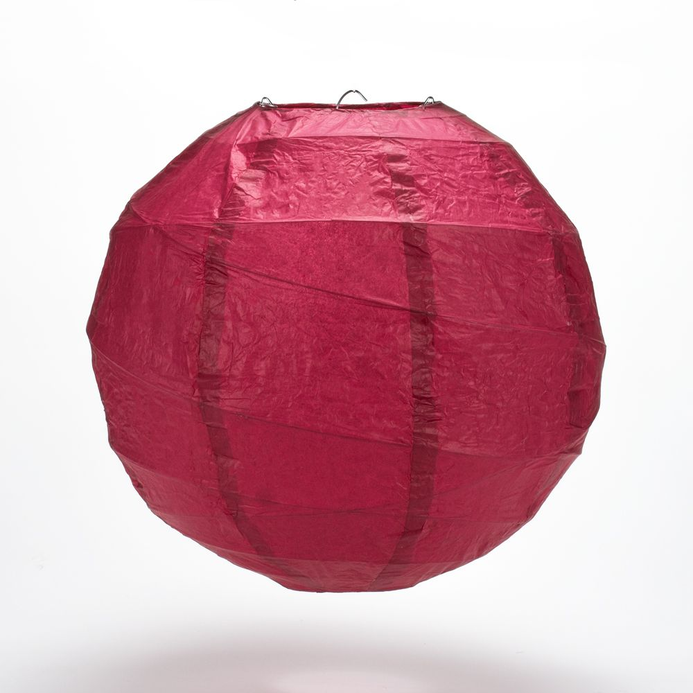 "6"" Velvet Red Round Paper Lantern, Crisscross Ribbing, Chinese Hanging Wedding & Party Decoration"