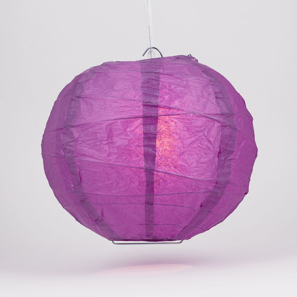 "6"" Violet / Orchid Round Paper Lantern, Crisscross Ribbing, Chinese Hanging Wedding & Party Decoration"