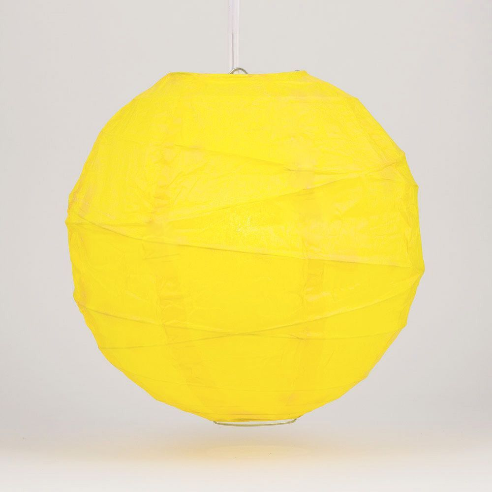 "6"" Yellow Round Paper Lantern, Crisscross Ribbing, Hanging Decoration"