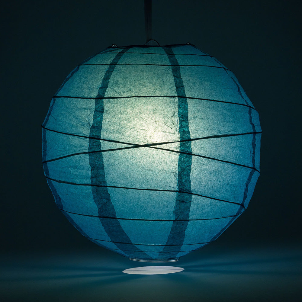 "6"" Tahiti Teal Round Paper Lantern, Crisscross Ribbing, Chinese Hanging Wedding & Party Decoration - PaperLanternStore.com - Paper Lanterns, Decor, Party Lights & More"