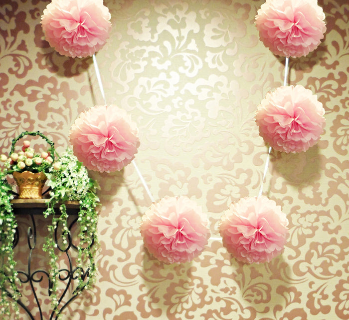 "EZ-Fluff 6"" Light Pink Hanging Tissue Paper Flower Pom Pom, Party Garland Decoration"