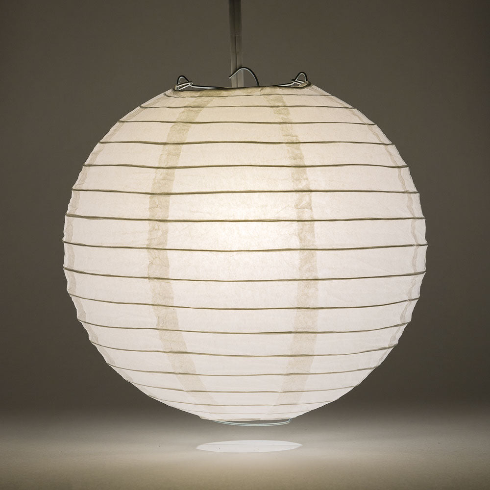 "16"" White Round Paper Lantern, Even Ribbing, Chinese Hanging Wedding & Party Decoration"