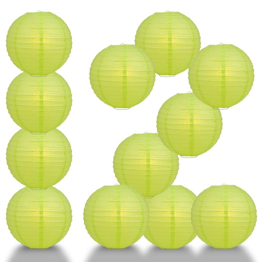 "BULK PACK (12) 24"" Light Lime Green Round Paper Lantern, Even Ribbing, Chinese Hanging Wedding & Party Decoration - PaperLanternStore.com - Paper Lanterns, Decor, Party Lights & More"