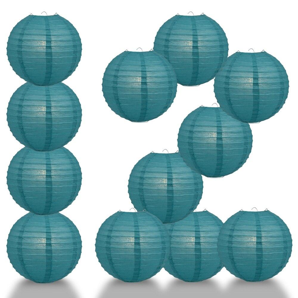 "BULK PACK (12) 16"" Tahiti Teal Round Paper Lantern, Even Ribbing, Chinese Hanging Wedding & Party Decoration - PaperLanternStore.com - Paper Lanterns, Decor, Party Lights & More"