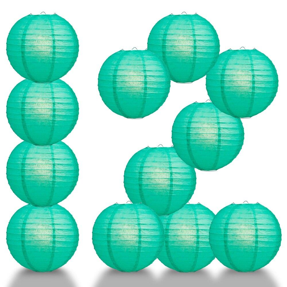 "BULK PACK (12) 24"" Teal Green Round Paper Lantern, Even Ribbing, Chinese Hanging Wedding & Party Decoration - PaperLanternStore.com - Paper Lanterns, Decor, Party Lights & More"
