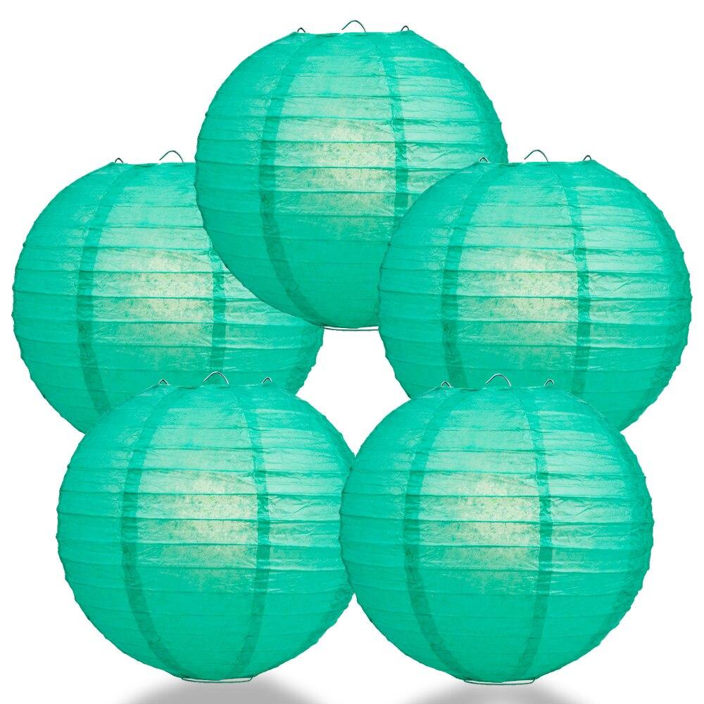 "BULK PACK (5) 24"" Teal Green Round Paper Lantern, Even Ribbing, Chinese Hanging Wedding & Party Decoration - PaperLanternStore.com - Paper Lanterns, Decor, Party Lights & More"