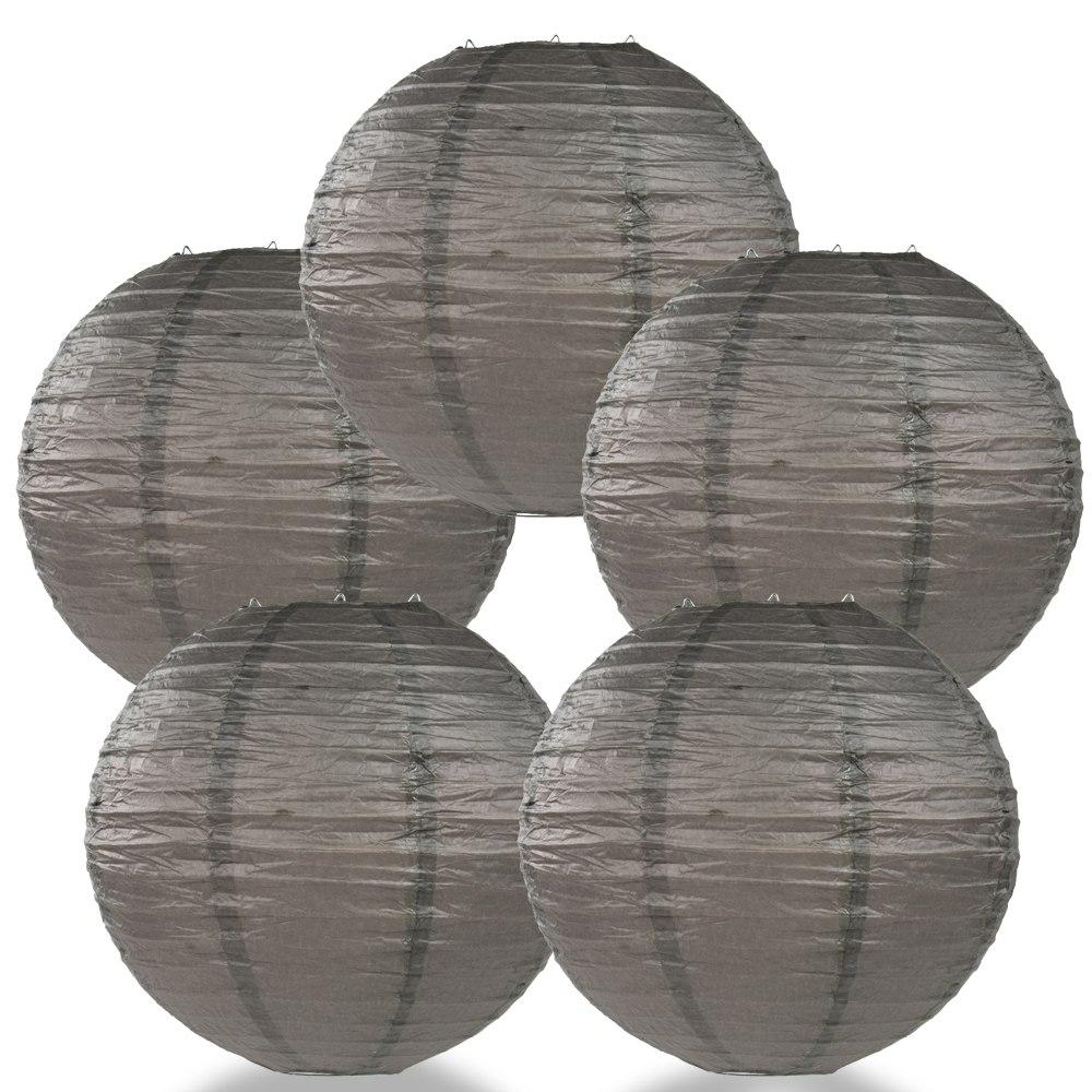 "BULK PACK (5) 36"" Driftwood Grey Jumbo Round Paper Lantern, Even Ribbing, Chinese Hanging Wedding & Party Decoration - PaperLanternStore.com - Paper Lanterns, Decor, Party Lights & More"