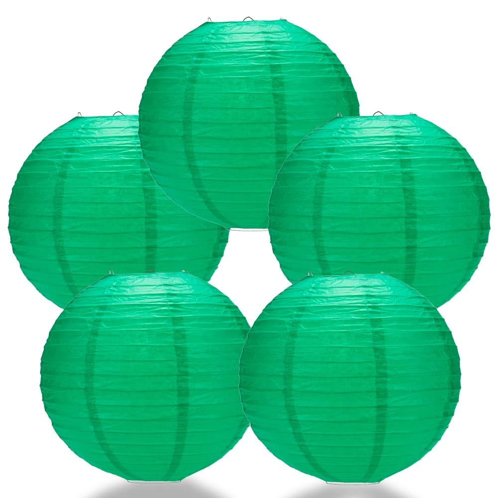 "BULK PACK (5) 24"" Arcadia Teal Round Paper Lantern, Even Ribbing, Chinese Hanging Wedding & Party Decoration - PaperLanternStore.com - Paper Lanterns, Decor, Party Lights & More"