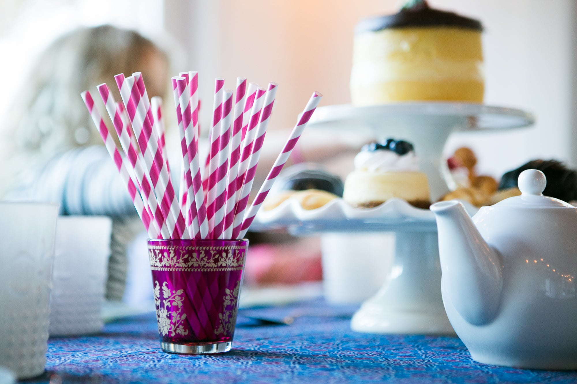Fuchsia Striped Patterned Party Paper Straws (12 PACK) - PaperLanternStore.com - Paper Lanterns, Decor, Party Lights & More