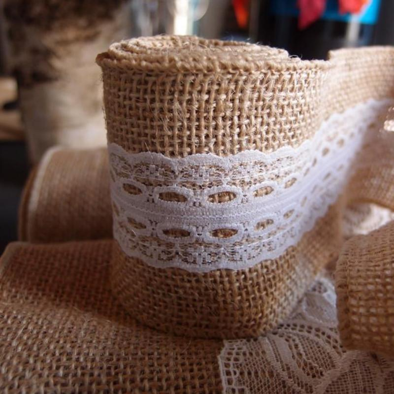 BLOWOUT Burlap and Lace Style No.6 Fabric Wrap Roll (2.4 x 6 Ft) - PaperLanternStore.com - Paper Lanterns, Decor, Party Lights & More