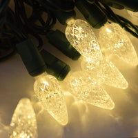 BLOWOUT 70 Outdoor Warm White LED C6 Strawberry String Lights, 24 FT Green Cord, Weatherproof, Expandable