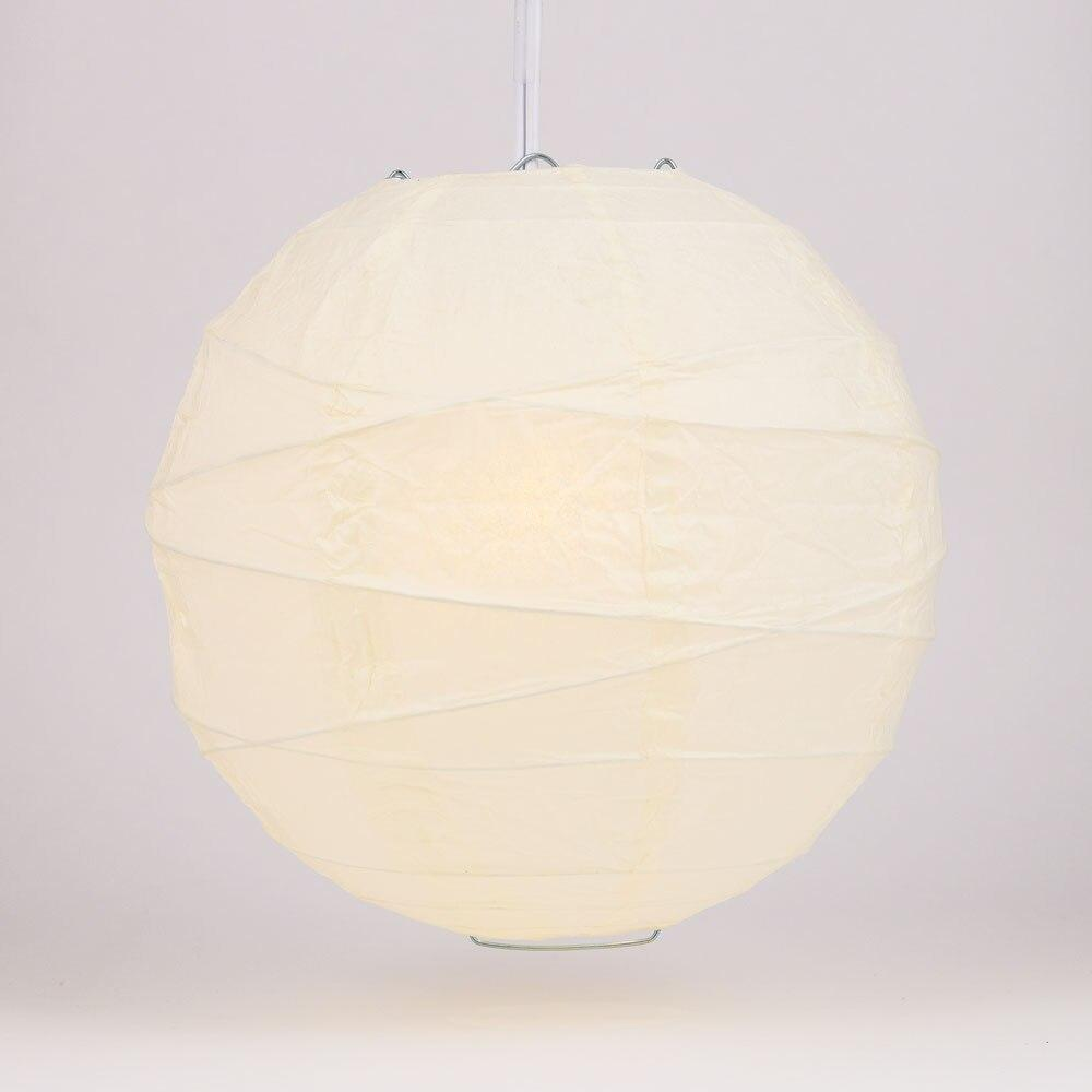 Wedding Beige 12 Inch Round Free-Style Ribbed Premium Paper Lantern - PaperLanternStore.com - Paper Lanterns, Decor, Party Lights & More