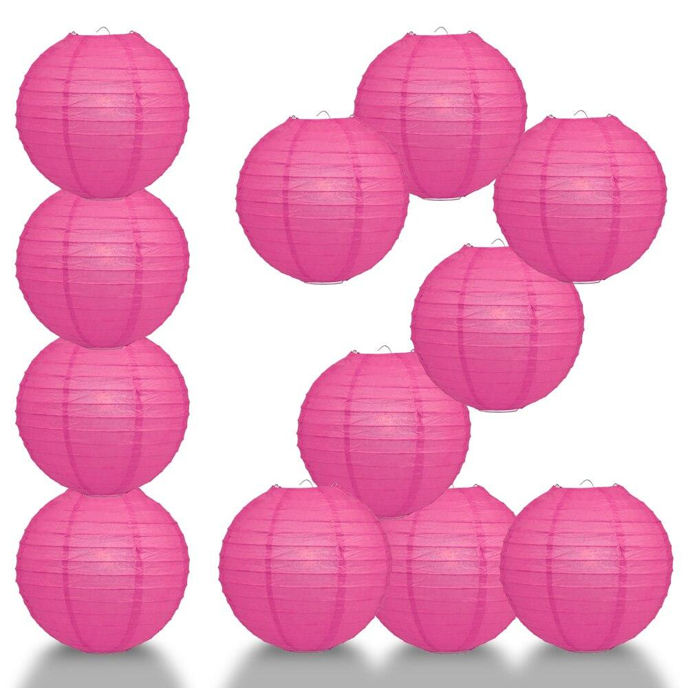"BULK PACK (12) 24"" Fuchsia / Hot Pink Round Paper Lantern, Even Ribbing, Chinese Hanging Wedding & Party Decoration - PaperLanternStore.com - Paper Lanterns, Decor, Party Lights & More"