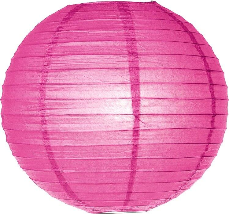 Bambina Pink 24 Inch Round Parallel Ribbed Premium Paper Lantern - PaperLanternStore.com - Paper Lanterns, Decor, Party Lights & More