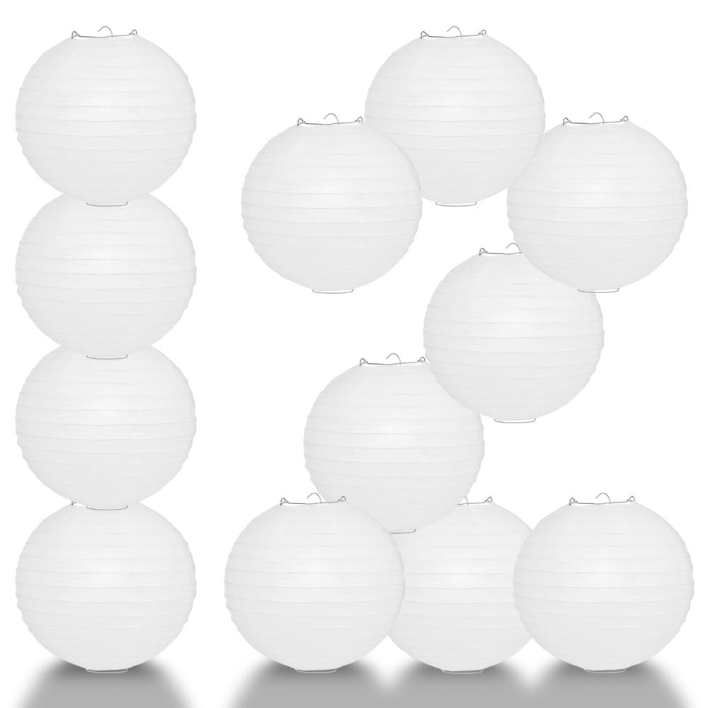 "BULK PACK (12) 16"" White Round Paper Lantern, Even Ribbing, Chinese Hanging Wedding & Party Decoration - PaperLanternStore.com - Paper Lanterns, Decor, Party Lights & More"