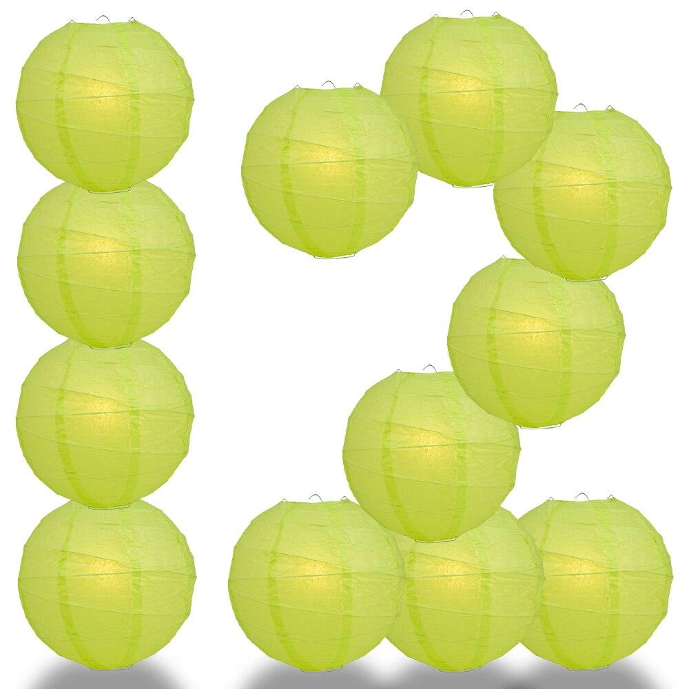 "BULK PACK (12) 20"" Light Lime Green Round Paper Lantern, Crisscross Ribbing, Chinese Hanging Wedding & Party Decoration - PaperLanternStore.com - Paper Lanterns, Decor, Party Lights & More"
