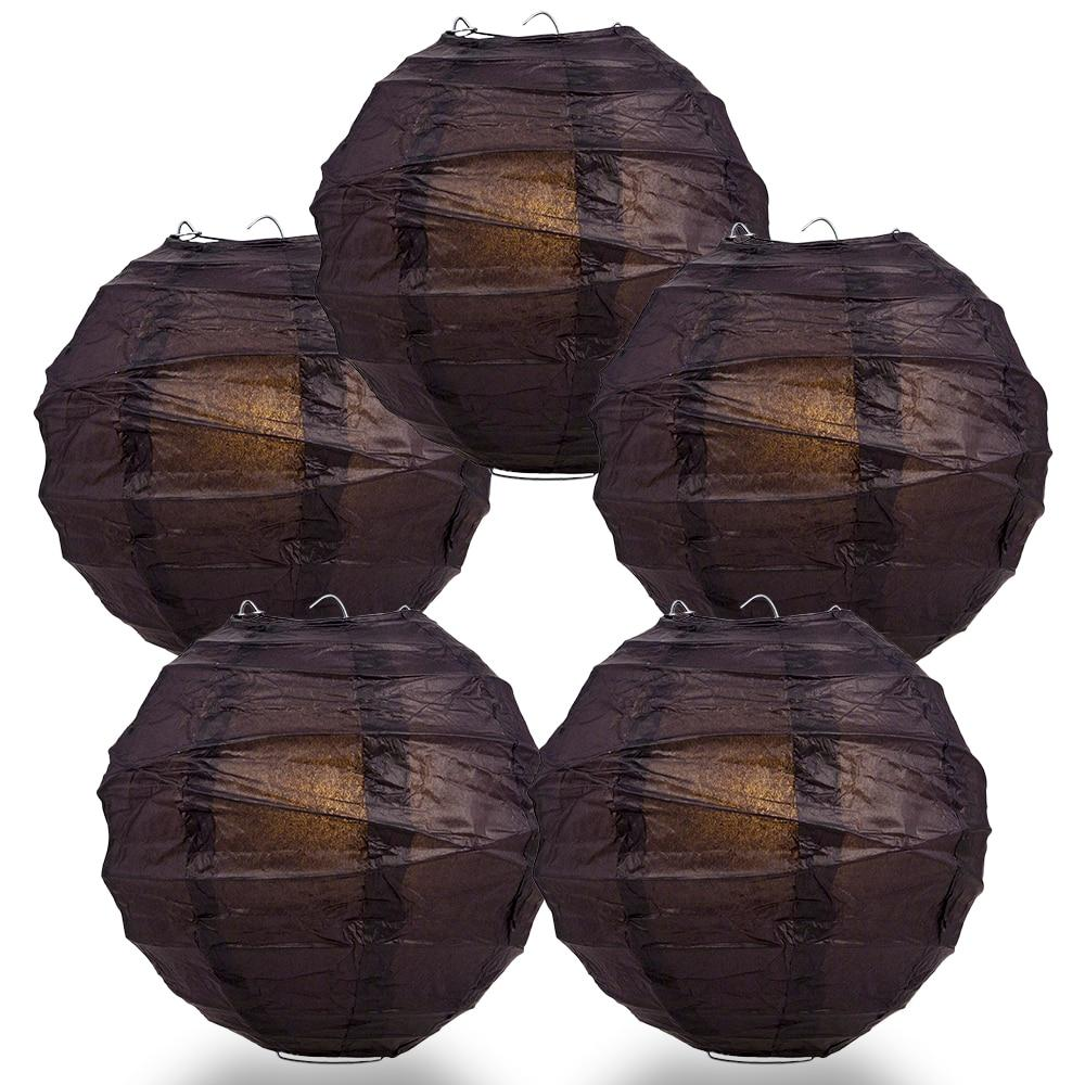 "BULK PACK (5) 16"" Black Round Paper Lantern, Crisscross Ribbing, Chinese Hanging Wedding & Party Decoration - PaperLanternStore.com - Paper Lanterns, Decor, Party Lights & More"