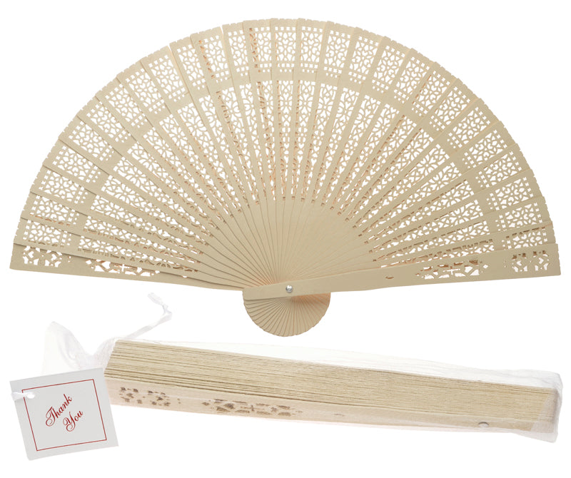 "8"" Beige / Ivory Wood Panel Hand Fan w/ Organza Bag for Weddings - PaperLanternStore.com - Paper Lanterns, Decor, Party Lights & More"