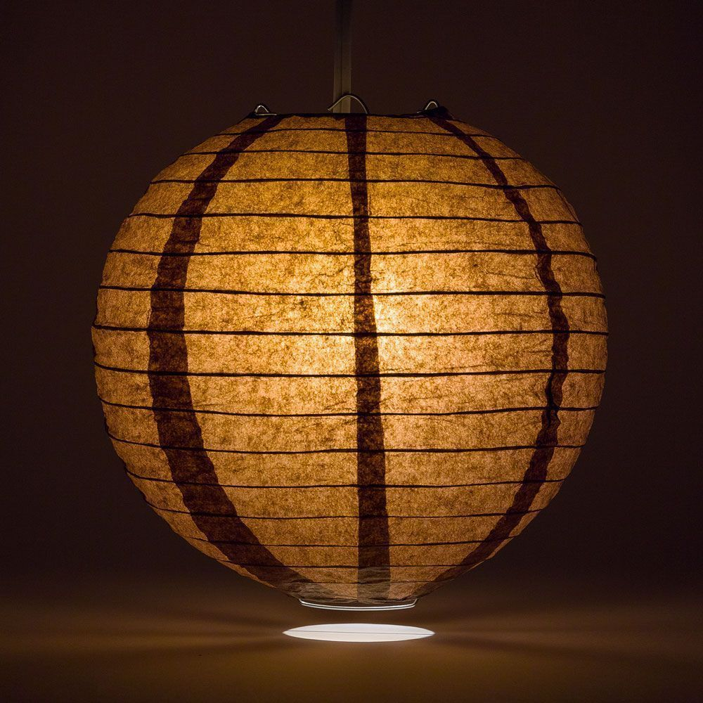"14"" Brown Round Paper Lantern, Even Ribbing, Chinese Hanging Wedding & Party Decoration"
