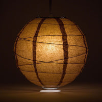 "20"" Brown Round Paper Lantern, Crisscross Ribbing, Chinese Hanging Wedding & Party Decoration"