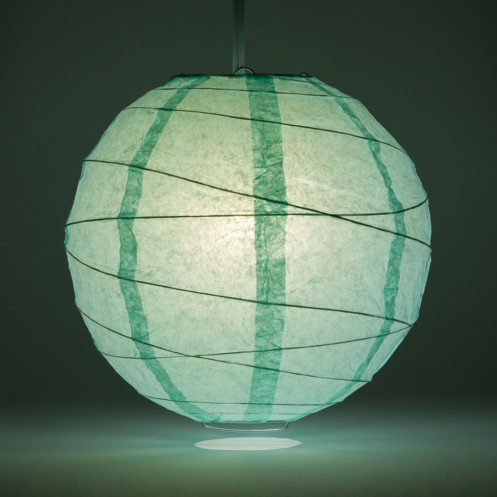"8"" Cool Mint Green Round Paper Lantern, Crisscross Ribbing, Chinese Hanging Wedding & Party Decoration - PaperLanternStore.com - Paper Lanterns, Decor, Party Lights & More"