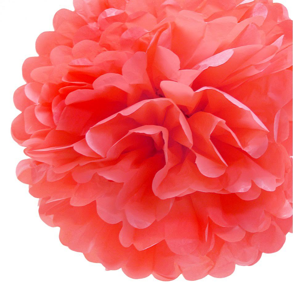 "BLOWOUT EZ-Fluff 8"" Roseate Tissue Paper Pom Pom Flowers, Hanging Decorations (4 PACK)"
