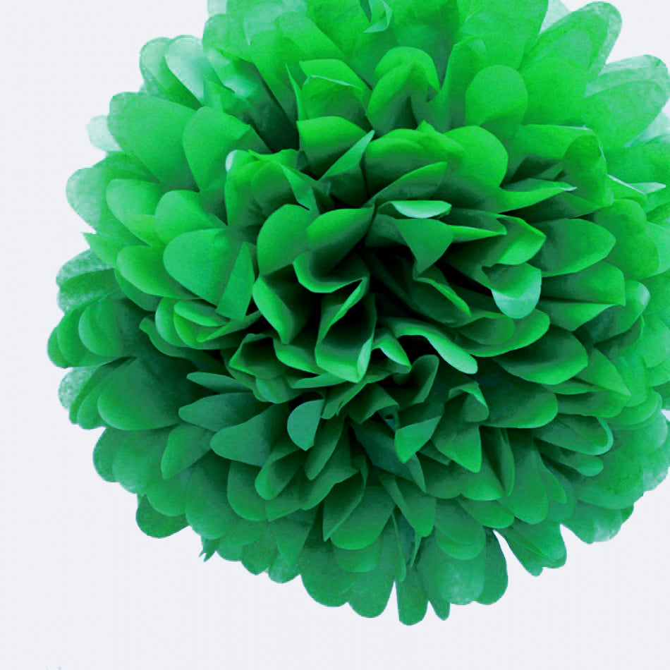 "BLOWOUT EZ-Fluff 8"" Dark Green Tissue Paper Pom Pom Flowers, Hanging Decorations (4 PACK)"