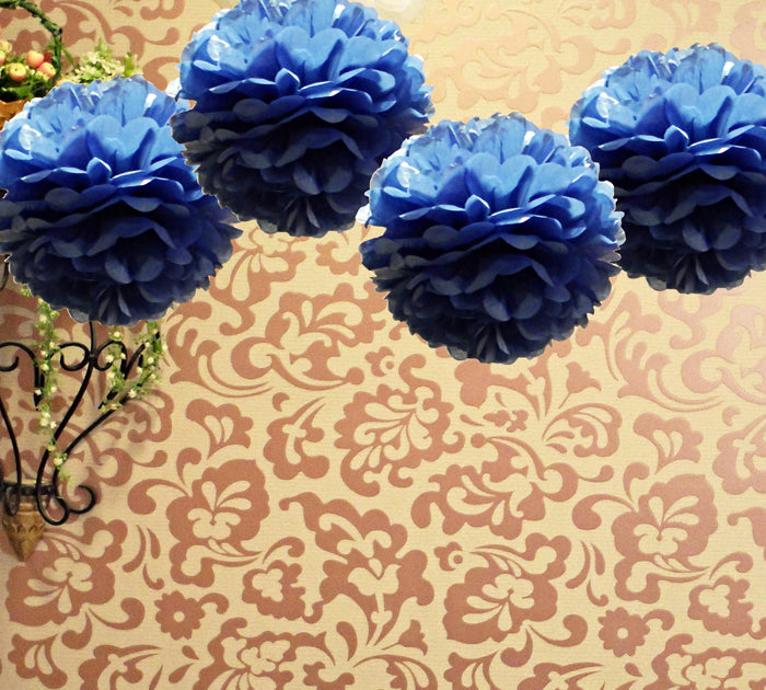 "EZ-Fluff 8"" Navy Blue Tissue Paper Pom Pom Flowers, Hanging Decorations (4 PACK)"