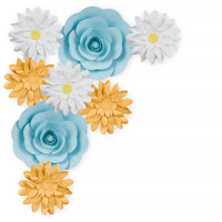 8-Pc Combo Blue Ranunculus Daisy Paper Flower Backdrop Wall Decor for Weddings, Photo Shoots, Birthday Parties and More