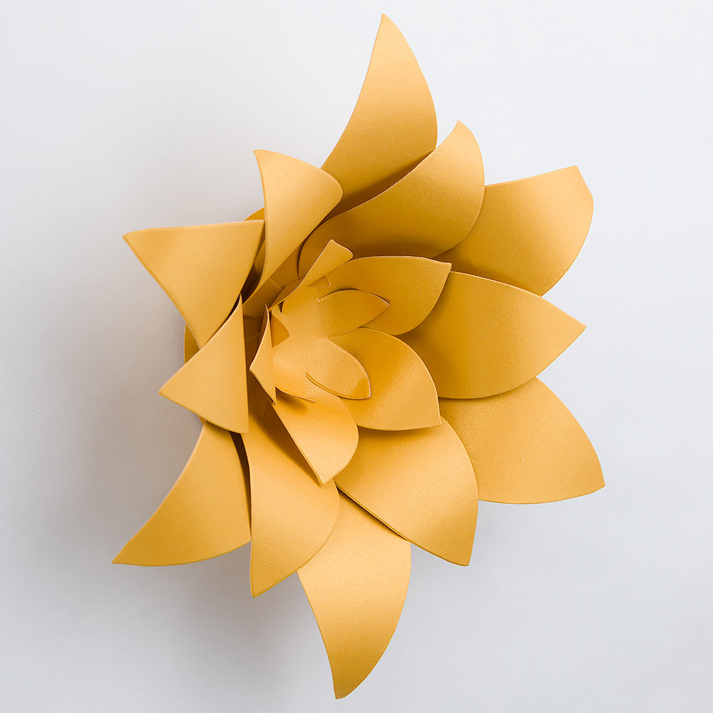 "Premium 8"" Pre-made Gold Lotus Paper Flower Backdrop Wall Decor for Weddings, Photo Shoots, Birthday Parties and more"