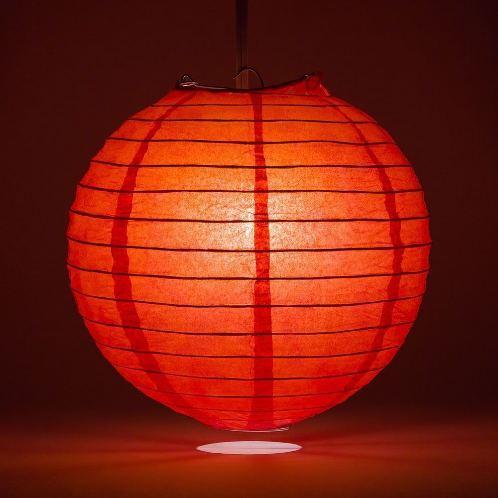 "12"" Red Round Paper Lantern, Even Ribbing, Chinese Hanging Wedding & Party Decoration"